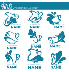 collection fresh and natural milk emblems vector image