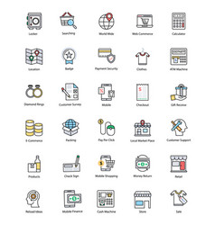 Creative shopping and commerce icons vector