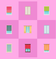 curtains and jalousies on plastic windows set vector image