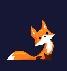 cute little fox looking up cartoon vector image