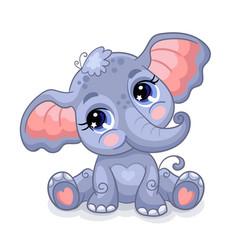 Cute sitting baby elephant cartoon character vector