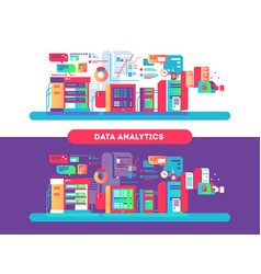 Data analytics design flat vector