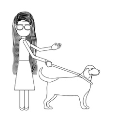 Disabled blind girl cartoon design vector