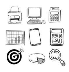 Doodle business icon set 2 - hand drawn vector