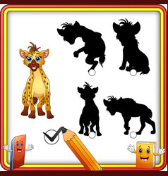 find the correct shadow cartoon funny hyena educ vector image