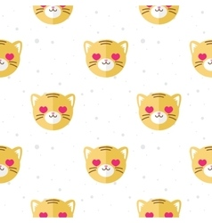flat cartoon tiger in love seamless pattern vector image