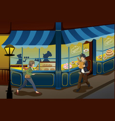 French bakery store vector