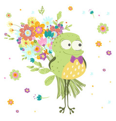 Frog toad with a bouquet flowers vector