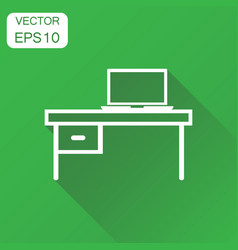 furniture table with laptop computer icon vector image