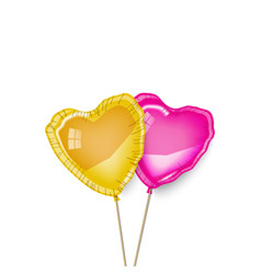 Gold and pink heart balloons couple vector