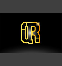 Gold black alphabet letter qr q r logo vector