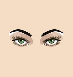 Green eyes woman vector