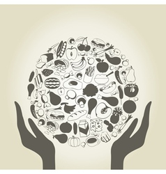 Hand food2 vector image