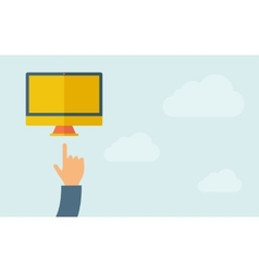 Hand pointing at monitor with blank screen vector image