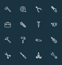 handtools icons line style set with tape measure vector image