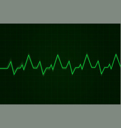 Heartbeat cardiogram graph green line on display vector