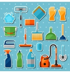 Housekeeping cleaning sticker icons set Image can vector image