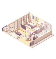 isometric apartment hotel suite vector image