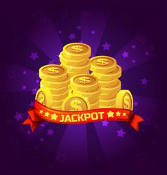 jackpot winner background golden coins treasure vector image