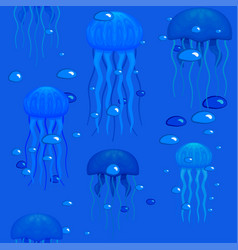 jellyfishes in seamless pattern stock vector image