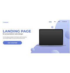 laptop template on landing page website concept vector image