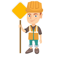 Little caucasian builder boy holding road sign vector