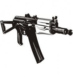 machine gun aks74u vector image