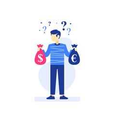 Man holding money bags in hands investor vector