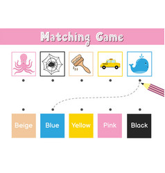 Match elements color educational game vector