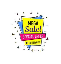 mega sale sticker in trendy linear style vector image
