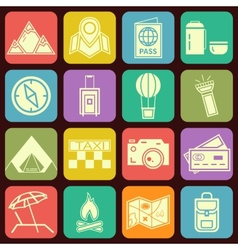 Modern flat traveling and camping icons vector