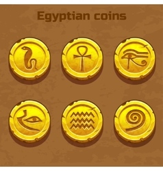 Old gold Egyptian coins game element vector