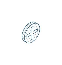 Plus sign positive isometric icon 3d line art vector
