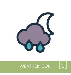 rain cloud moon icon meteorology weather vector image