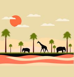 Reserve africa landscape with animals giraffe vector