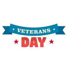 ribbon veterans day logo flat style vector image