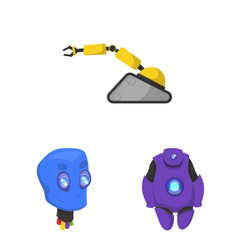 robot and factory sign set vector image