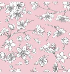 seamless pattern with cherry blossoms sakura hand vector image