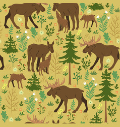 seamless pattern with forest moose vector image
