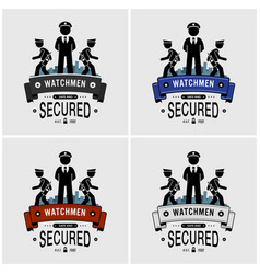 security guards logo design artwork of watchman vector image