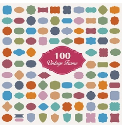 set 100 colourful vintage frame vector image