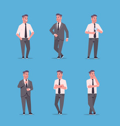 Set businessmen in formal wear standing pose vector