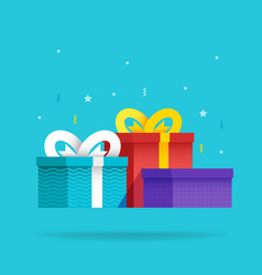 set holiday christmas box surprise with ribbon vector image