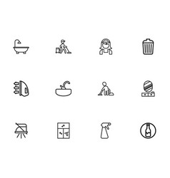 Set of 12 editable cleaning outline icons vector