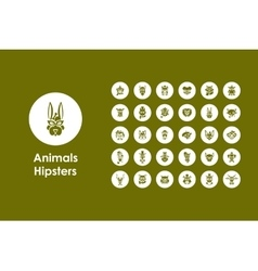 Set of animals hipsters simple icons vector