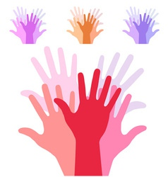 Set of colorful up hands silhouette vector