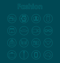 set of fashion simple icons vector image