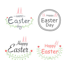 set of happy easter labels vector image