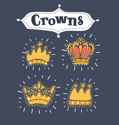 set or collection golden crowns vector image
