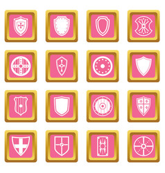 shield frames icons pink vector image